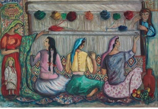 Jale Yasan (1921-1994) Halı Dokuyan Kızlar